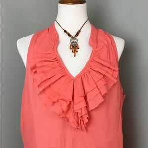 XL Loft sleeveless ruffled neck blouse